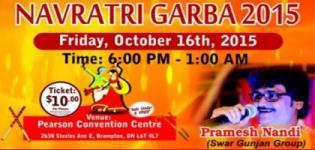 Pramesh Nandi Navratri Garba 2015 at Brampton Canada by Brahmin Samaj of Ontario
