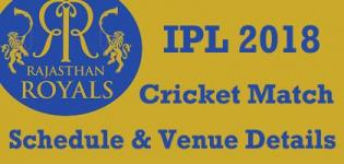Rajasthan Royals (RR) Team Players Name - IPL 2018 Cricket Match Schedule and Venue Details Venue