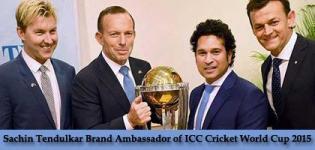 Sachin Tendulkar Brand Ambassador for ICC CRICKET WORLD CUP 2015 - December 2014 News