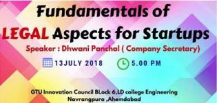 Seminar on Fundamentals of Legal Aspects for the New Startups arranged in Ahmedabad