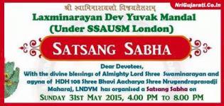 Shree Swaminarayan Satsang Sabha in LONDON on 31st May 2015 by Laxminarayan Dev Yuvak Mandal
