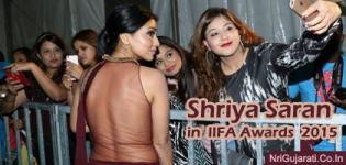 Shriya Saran in Transparent Backless Maroon Dress Photos Hot Pics at IIFA Awards 2015