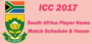 South Africa ICC Champions Trophy 2017 Team Squad Name - Match Schedule and Venue Details