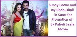 Sunny Leone in Surat for Ek Paheli Leela 2015 Bollywood Hindi Movie Promotion with Jay Bhanushali