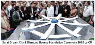 Surat Dream City & Diamond Bourse Foundation Ceremony by Gujarat CM on 14 February 2015