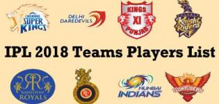 VIVO IPL 2018 Cricket Match Teams Players Name List