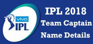 VIVO IPL 2018 T20 Cricket Teams Captain Name