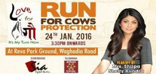VYO Run for Cow Protection 2016 in Vadodara - Falg off by Shilpa Shetty with Aishwarya Majmudar