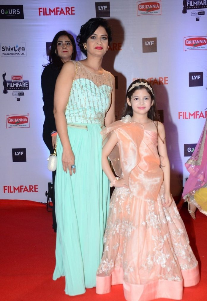 Harshaali Malhotra in Peach One Shoulder Gown at FilmFare Awards