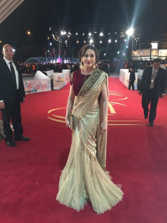 Madhuri Dixit In Shimmery Lehenga Saree With Maroon Velvet