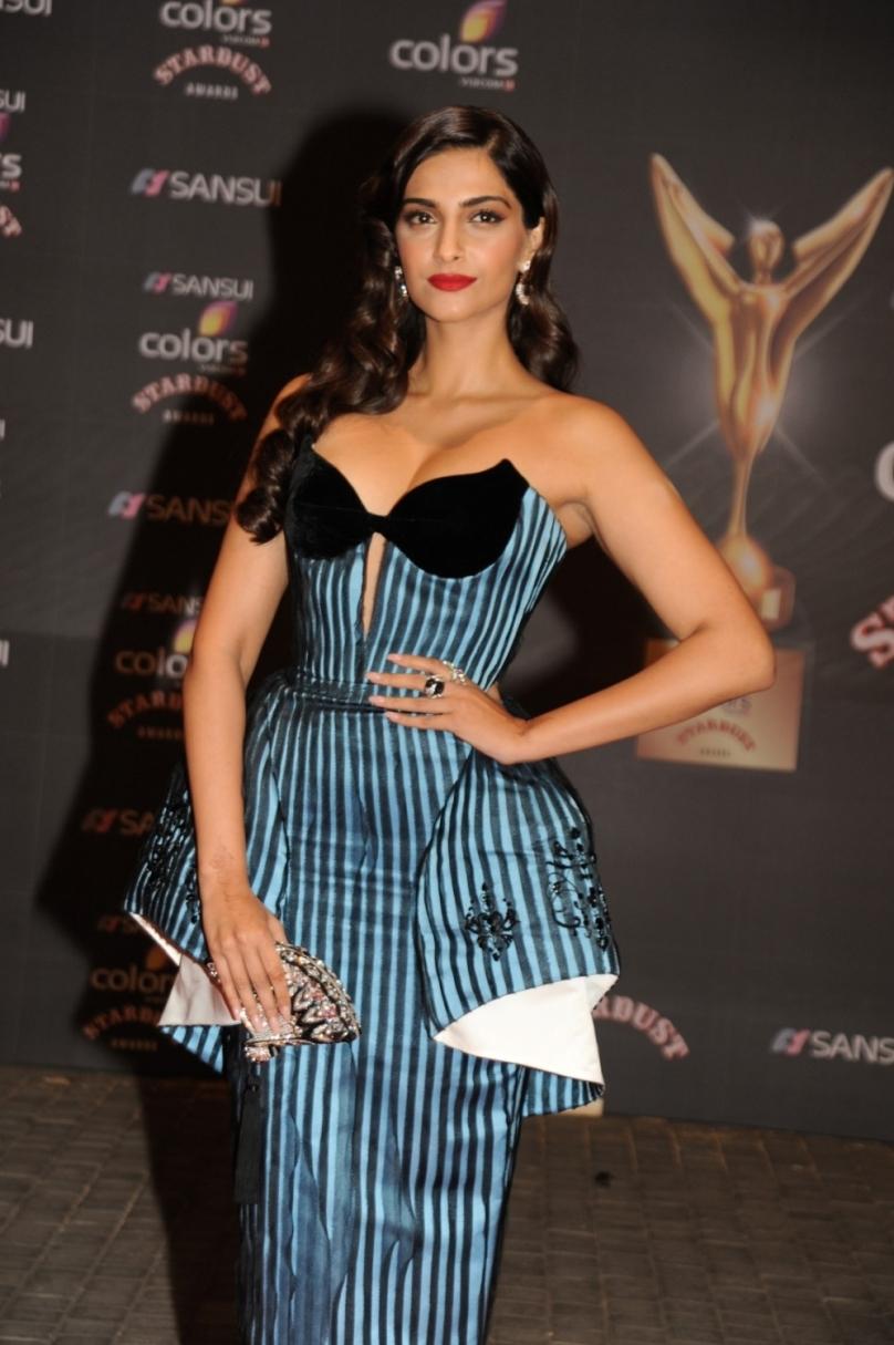 Sonam Kapoor In Off Shoulder Striped Dress At Sansui